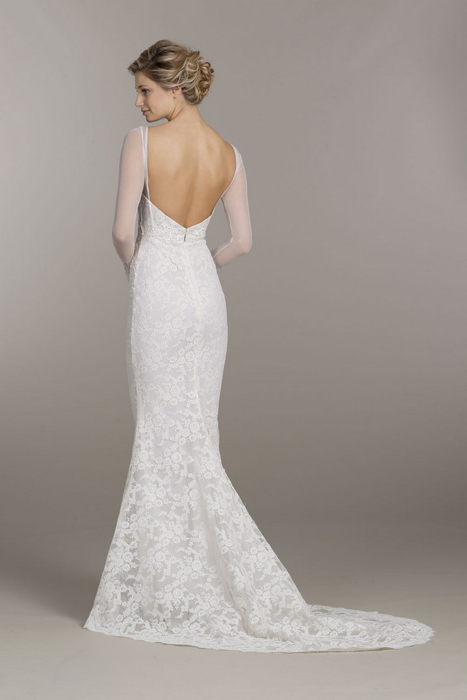 Sheer, long sleeved Tara Keely Wedding Dress