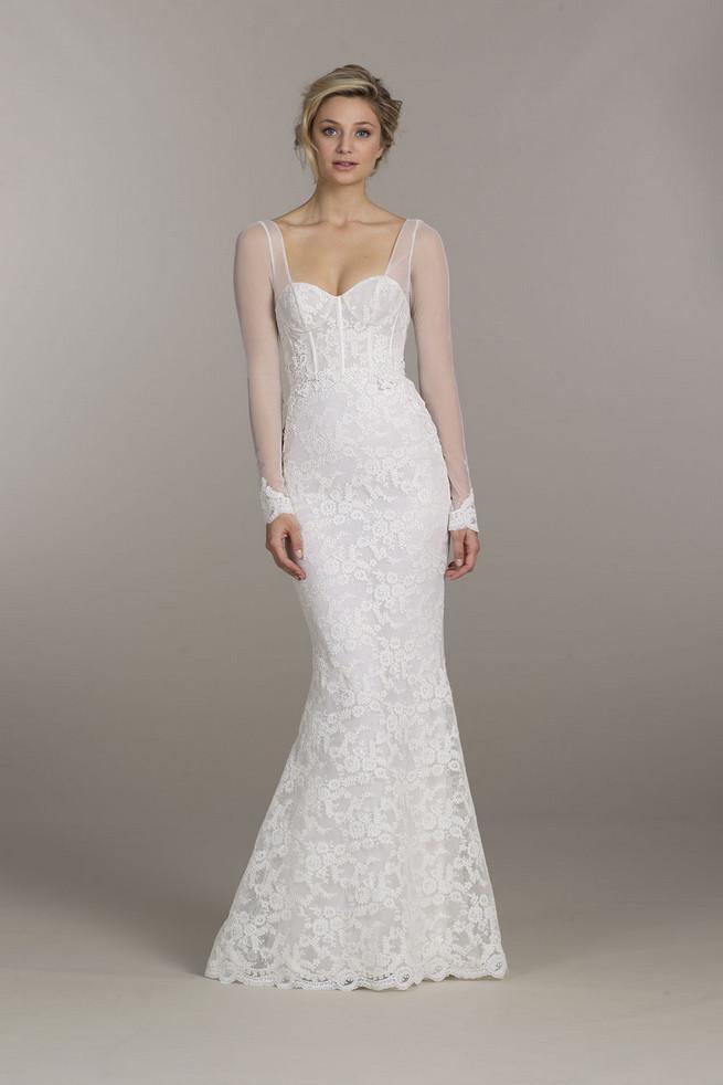 Long sheer sleeves // Tara Keely Wedding Dress