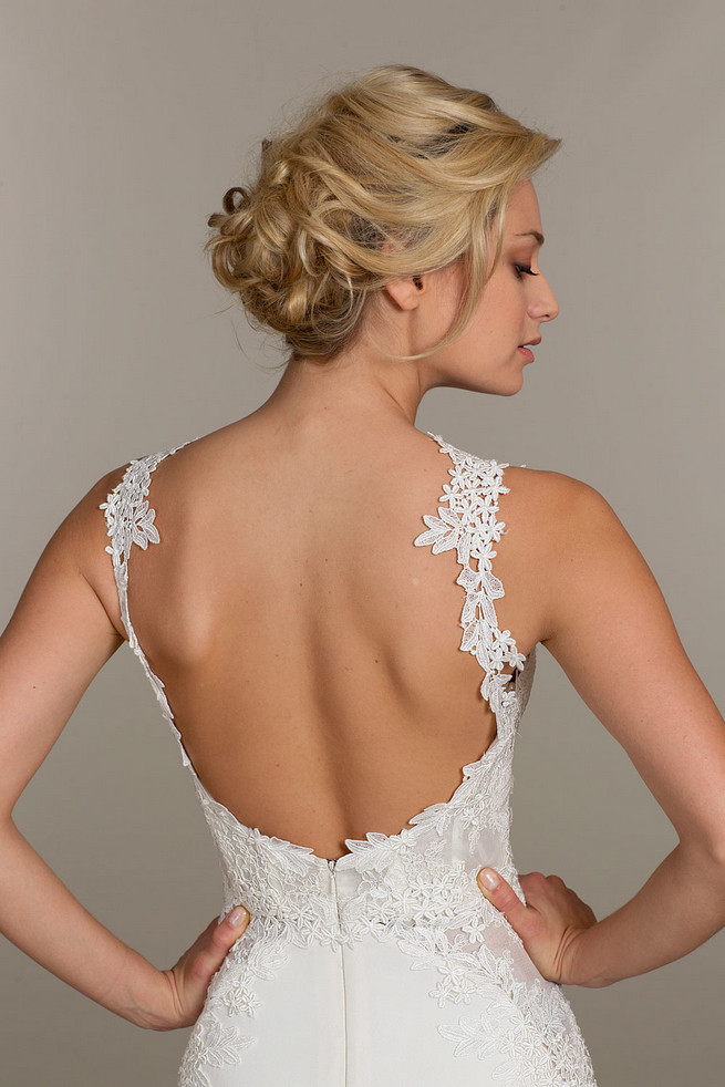 Tara Keely Wedding Dresses with lace sleeves and corset style bodice