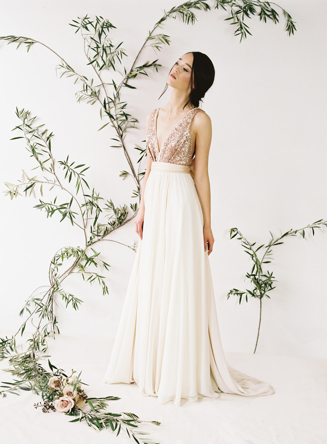Glittering truvelle wedding dress collection for Blush and gold wedding dress