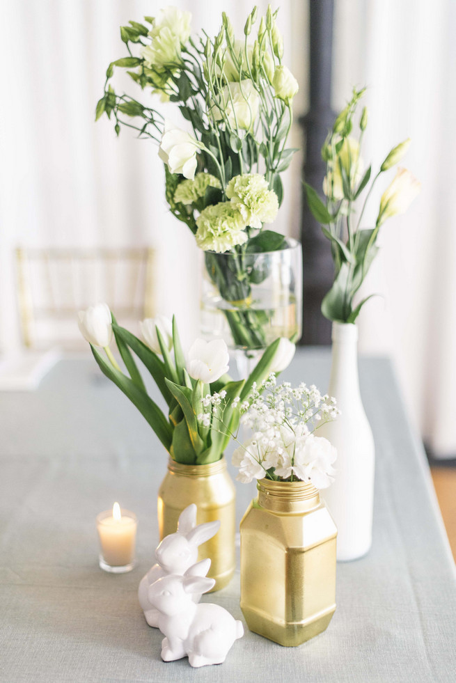 DIY painted bottles and jars in white and gold. White and Gold DIY Chevron Wedding, South Africa, by Claire Thomson Photography