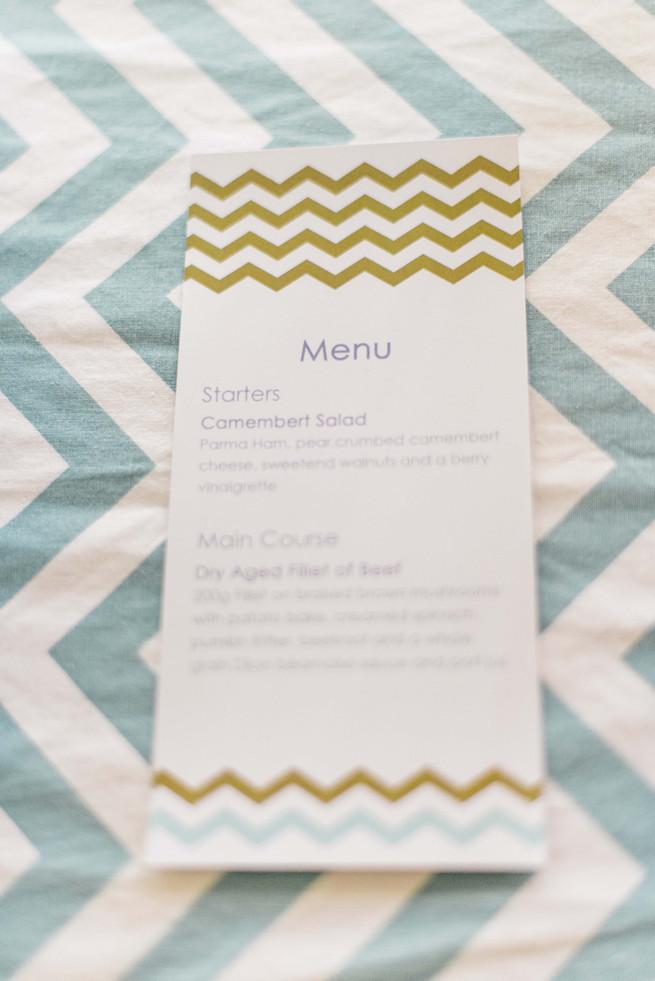 Chevron wedding menu.