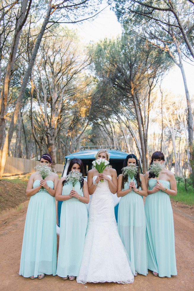Mint blue bridesmaid dresses. ite and Gold DIY Chevron Wedding, South Africa, by Claire Thomson Photography