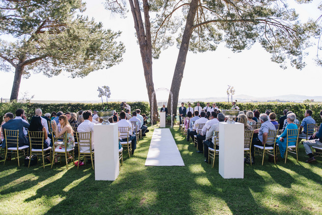 Outdoor wedding ceremony at forest 44. White and Gold DIY Chevron Wedding, South Africa, by Claire Thomson Photography