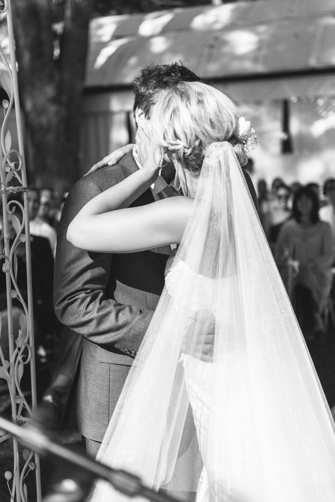 First kiss. White and Gold DIY Chevron Wedding, South Africa, by Claire Thomson Photography