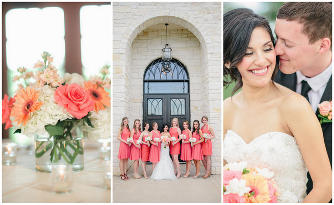 Cute Coral & Gray Wedding at Briscoe Manor {Luke and Cat Photography}