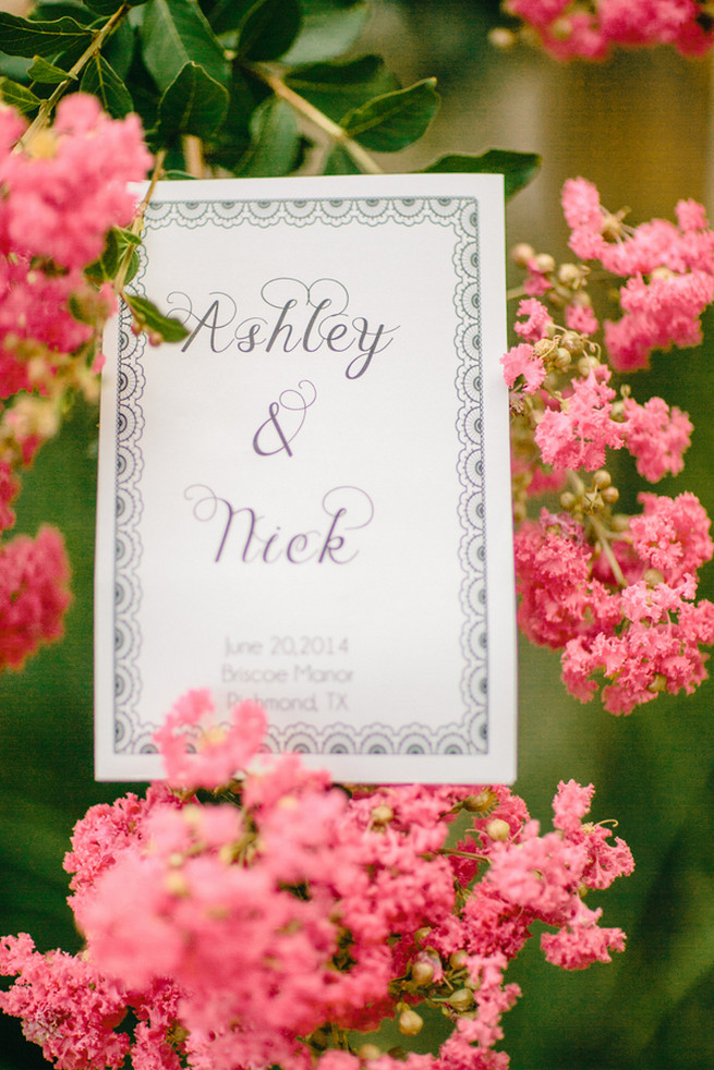 Wedding sign. Cute Coral Gray wedding at Briscoe Manor, Houston, by Luke and Cat Photography