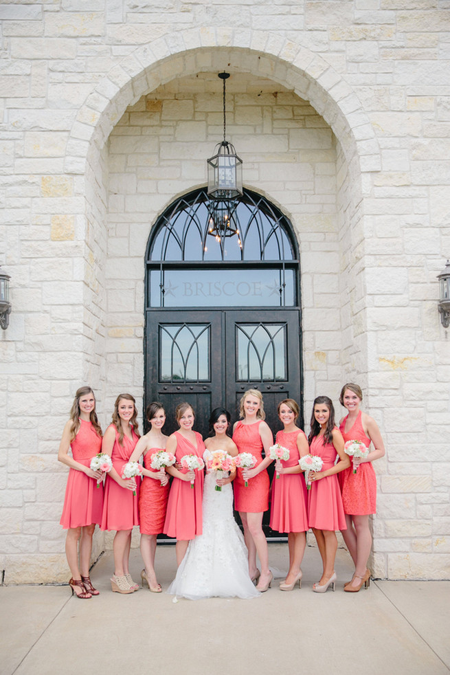 Grey and Light Coral Bridesmaid Dresses