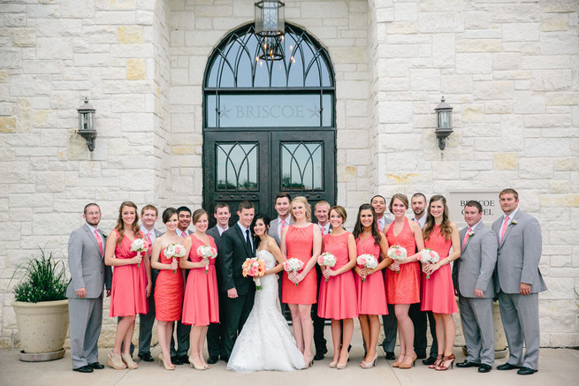 Bridal party style! Cute Coral Gray wedding at Briscoe Manor, Houston, by Luke and Cat Photography
