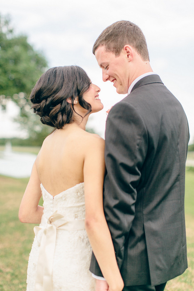 Elegant bridal chignon. Cute Coral Gray wedding at Briscoe Manor, Houston, by Luke and Cat Photography