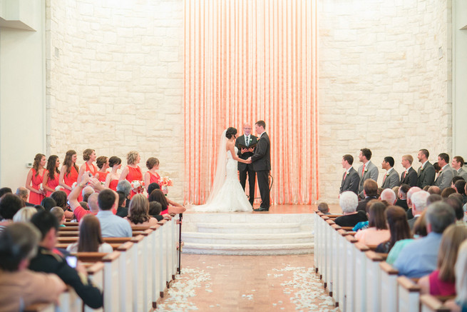 Diy ribbon ceremony backdrop. Cute Coral Gray wedding at Briscoe Manor, Houston, by Luke and Cat Photography