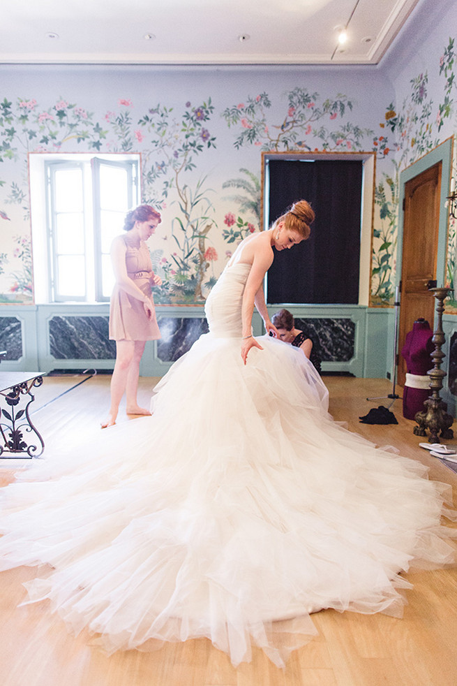 Spectacular wedding dress with seven foot train with mermaid silhouette, low back and sweetheart neckline designed by Alyssa Kristin. / Valo Photography