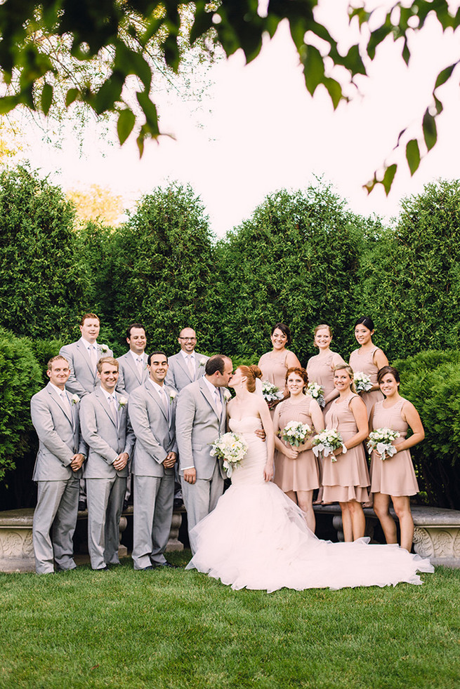 Blush bridesmaids and grey groomsmen attire. Elegant Milwaukee Wedding Valo Photography