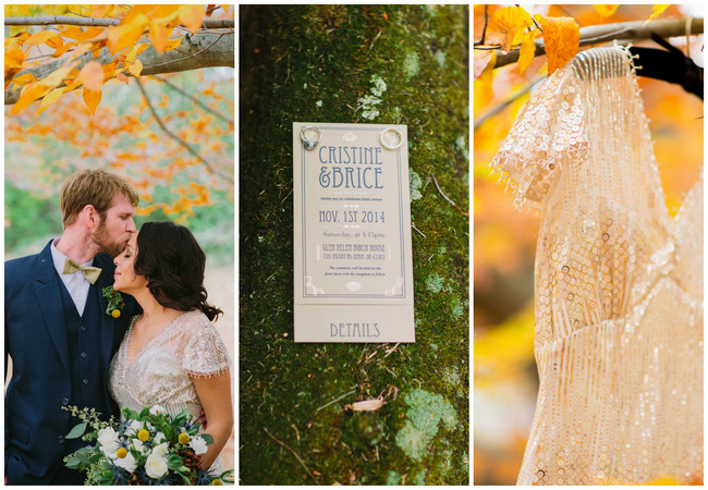 Gatsby-Inspired Autumn Birch House Wedding {Chloe Luka Photography}