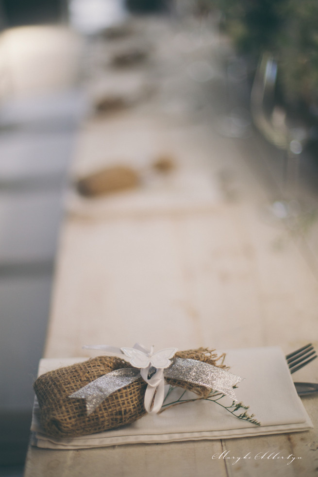 Rustic place setting with burlap and lavender. Grey White Farm Wedding, South Africa // Maryke Albertyn