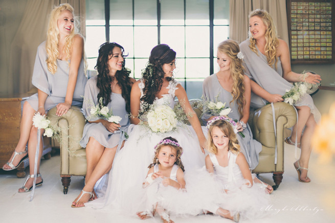 Off the shoulder grey bridesmaid dresses with simply but pretty white bouquets. Grey White Farm Wedding, South Africa // Maryke Albertyn