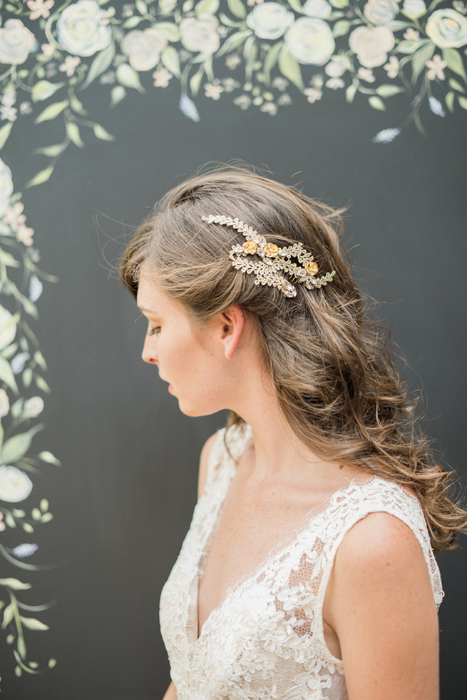 Delicate bridal headpieces, veils and handmade wedding accessories by Hushed Commotion Collection & exclusive designer interview on ConfettiDaydreams.com. Images by Brklyn View Photography.