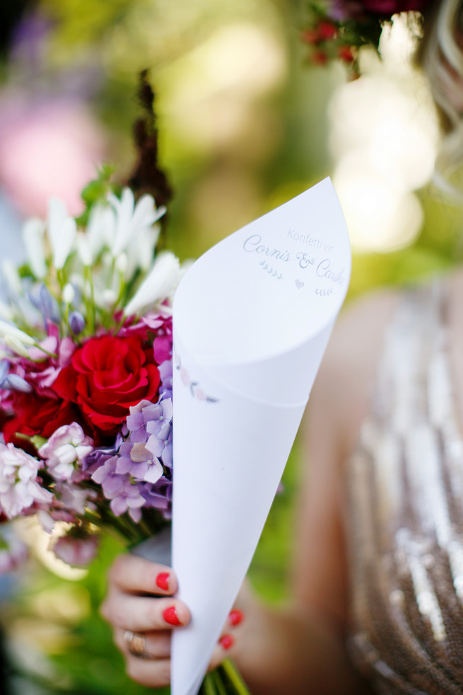 Confetti cones. Pink, purple and green Natte Valleij Stellenbosch Wedding by Adene Photography