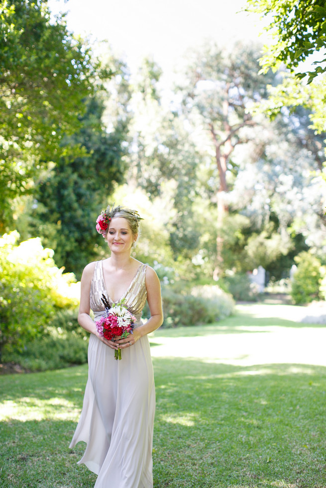 Lavender bridesmaid with flower crown. Pink, purple and green Natte Valleij Stellenbosch Wedding by Adene Photography