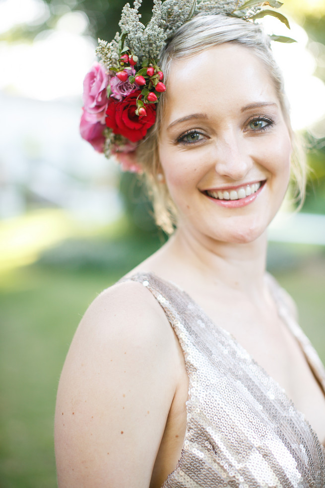 Bridesmaid flower crown Pink, purple and green Natte Valleij Stellenbosch Wedding by Adene Photography