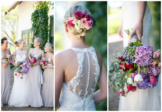 Pink, purple and green Natte Valleij Stellenbosch Wedding by Adene Photography