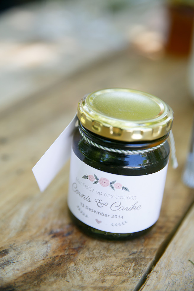 Home made jam favor // Pink, purple and green Natte Valleij Stellenbosch Wedding by Adene Photography