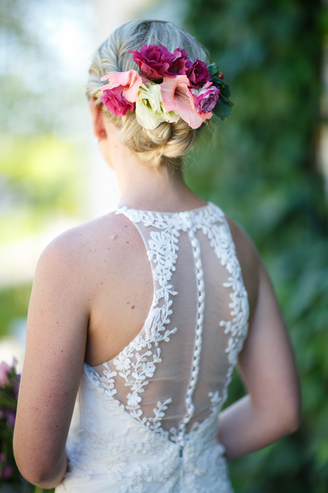 Lace tattoo wedding gown. Pink, purple and green Natte Valleij Stellenbosch Wedding by Adene Photography