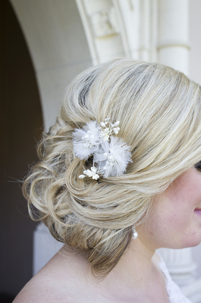 Wedding hairdo chignon upstyle // Purple and Gray DIY Wedding
