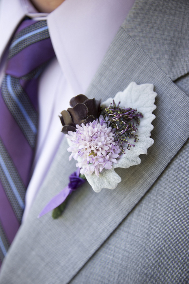 Succulent purple and grey Boutonniere  with lambs ear