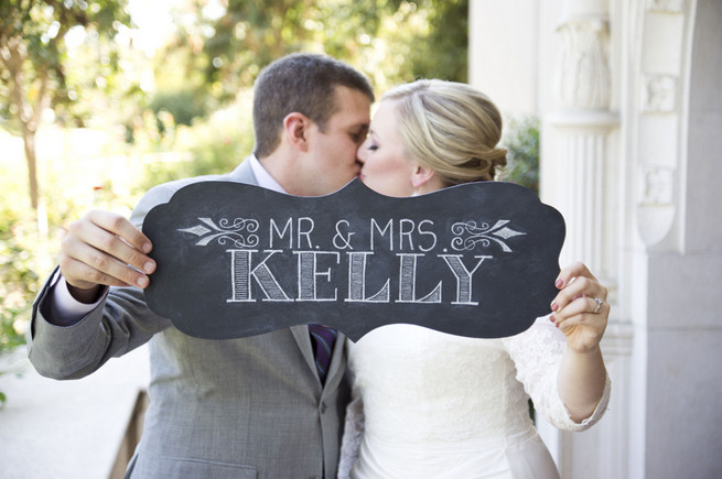 MRS and MRS chalkboard wedding sign just married photo. Cream hydrangea, purple chrysanthemums, lambs ear. Purple and Gray DIY Wedding / Peterson Photography