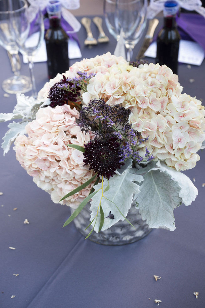 Cream hydrangea, purple chrysanthemums, lambs ear. Purple and Gray DIY Wedding / Peterson Photography