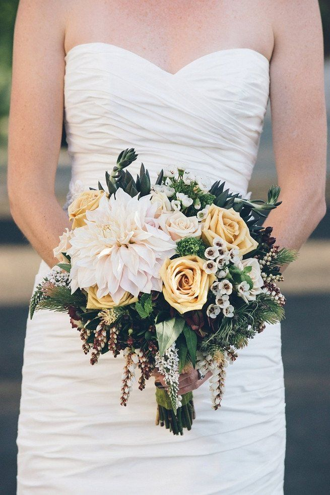 Top Ten Rustic Wedding Bouquet : Dahlia, yellow roses, succulents, wild flowers.