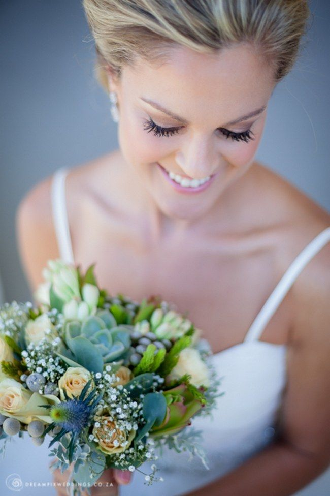 Ten gorgeous rustic wedding bouquets:. Succulents, cream roses, wildflowers, grey brunia and dusty miller