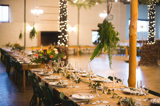 How to use natural greenery in decor bring the outdoors indoors for a woodlands Winter Wedding in deep blue, burgundy and emerald green // Knit Together Photography