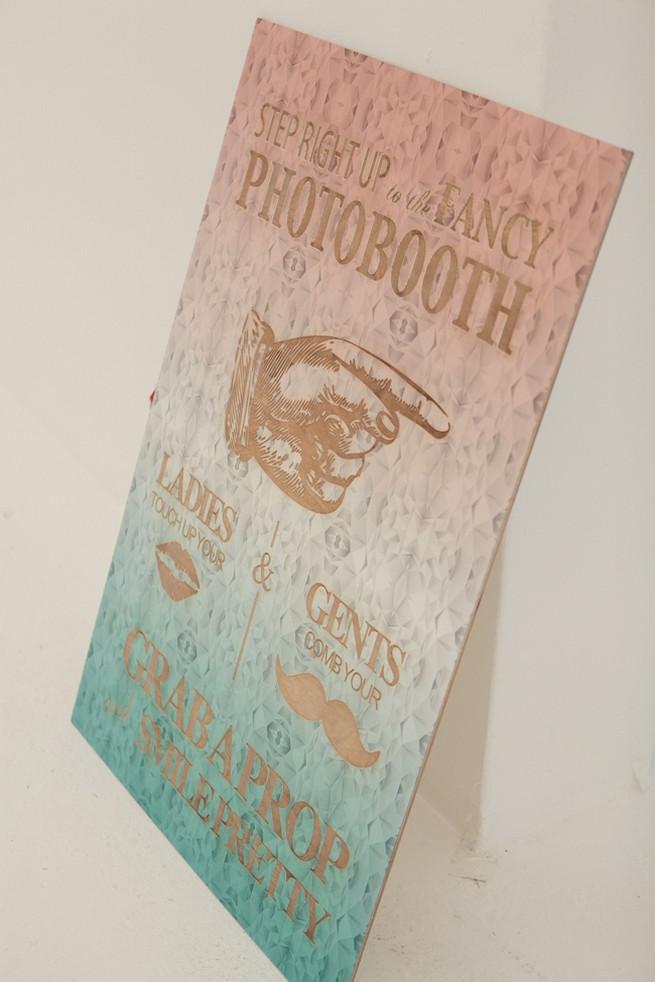 Wood lazer cut wedding photobooth sign. Chic, Romantic Cape Town City Wedding (Coba Engelbrecht Photography)