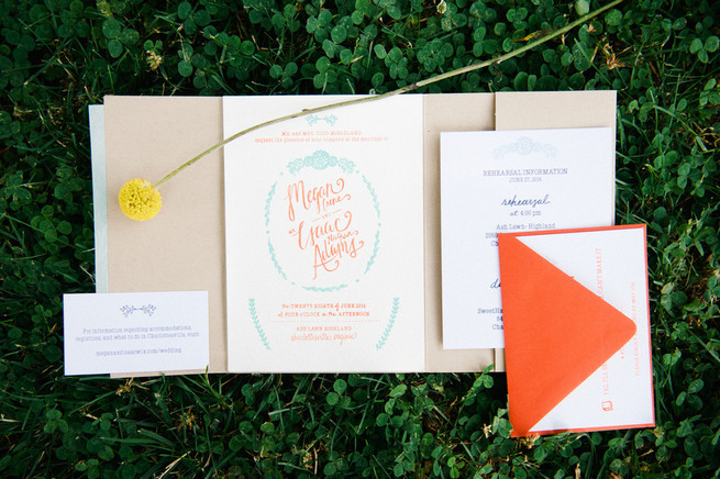 Coral wedding invitations / Meredith McKee Photography