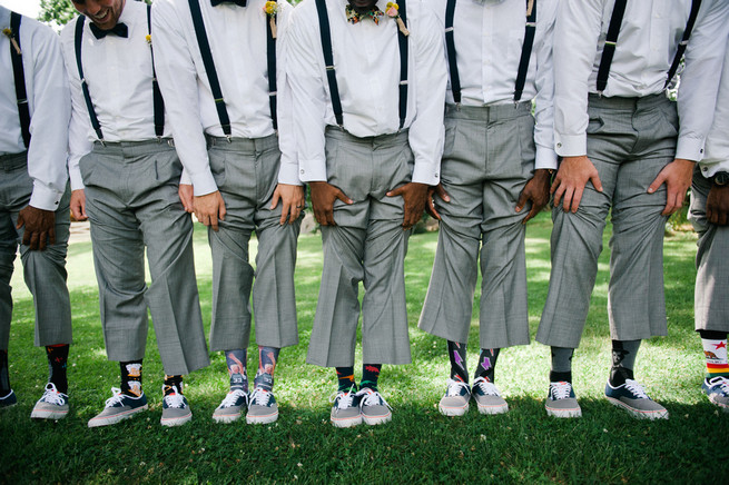 Groomsmen suspenders and socks  / Meredith McKee Photography