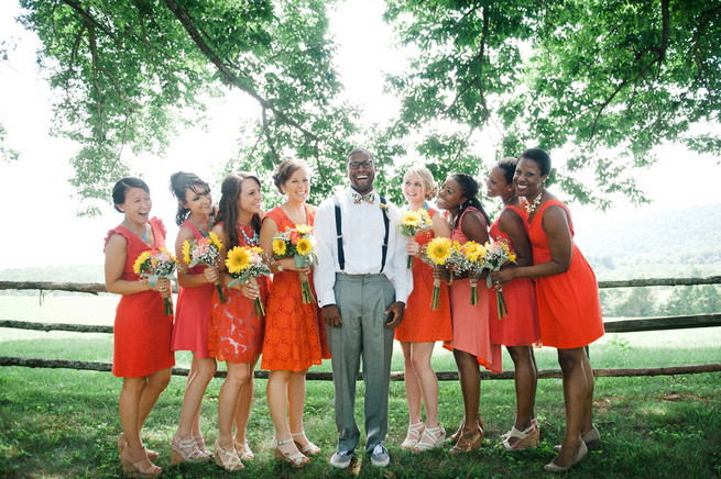 Coral Navy Mustard Wedding / Meredith McKee Photography