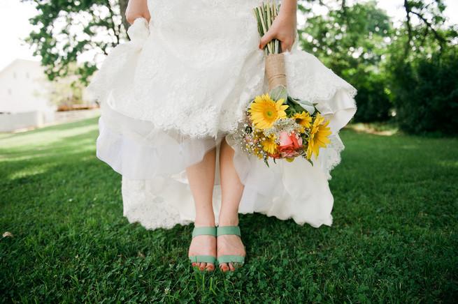 Sunflower bouquet.  Coral Navy Mustard Wedding / Meredith McKee Photography