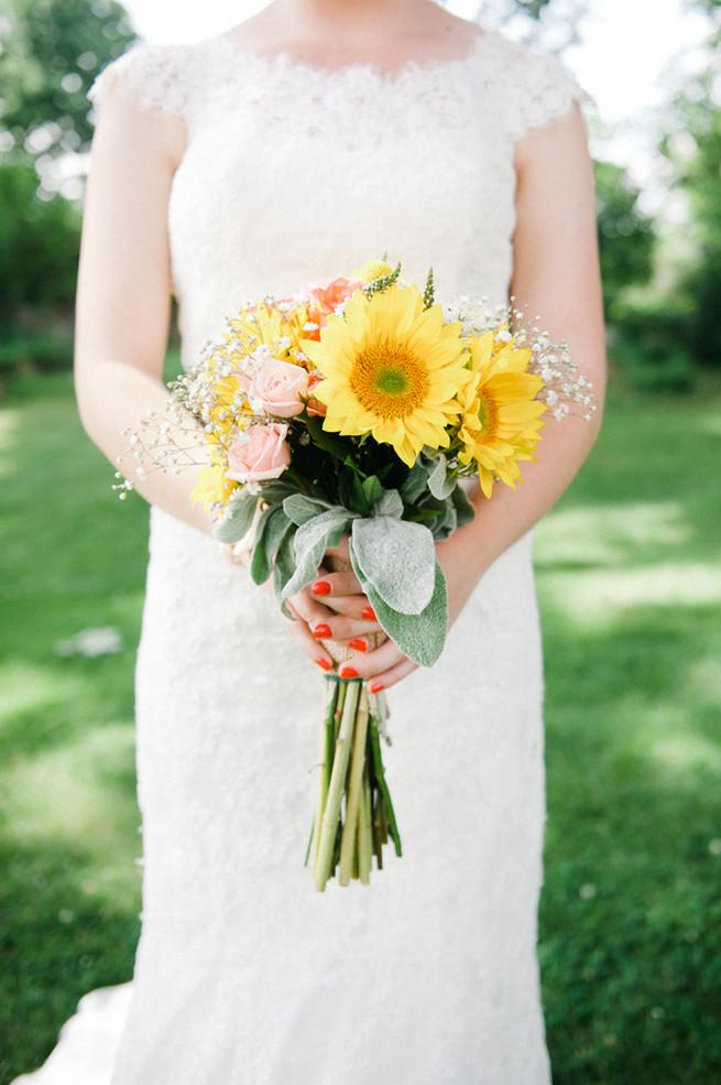 Sunflower wedding bouquet.  Coral Navy Mustard Wedding / Meredith McKee Photography