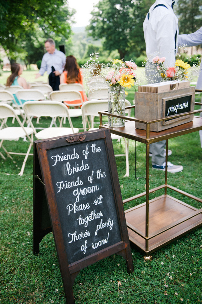 Chalkboard signage.  Coral Navy Mustard Wedding / Meredith McKee Photography