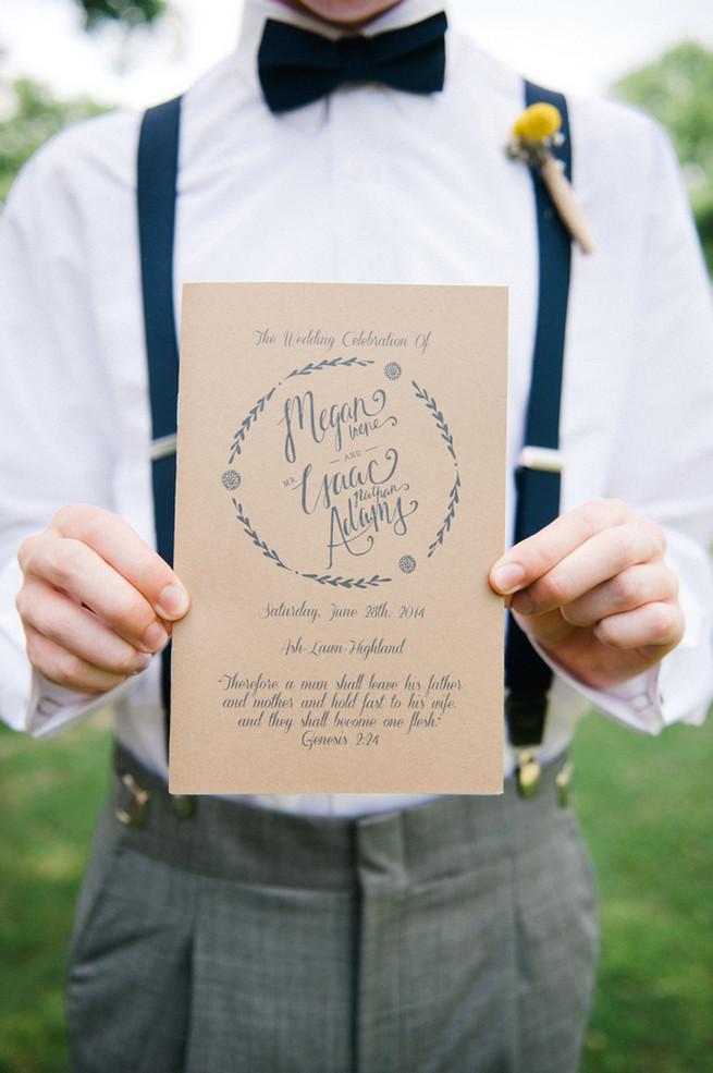 Rustic wedding program. Coral Navy Mustard Wedding / Meredith McKee Photography