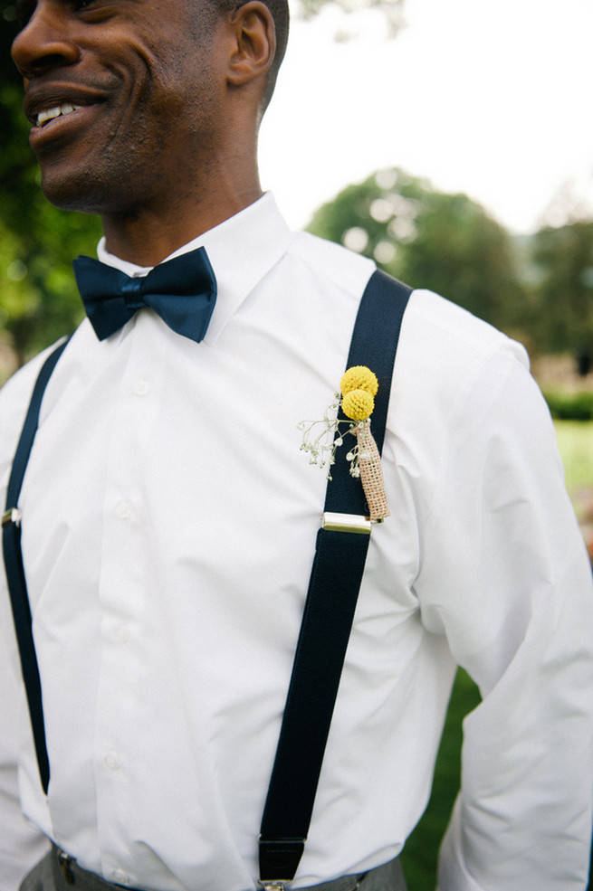 Billy ball boutonniere  Coral Navy Mustard Wedding / Meredith McKee Photography