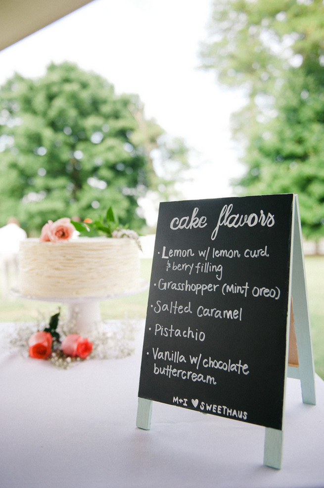 Wedding cake sign  Coral Navy Mustard Wedding / Meredith McKee Photography
