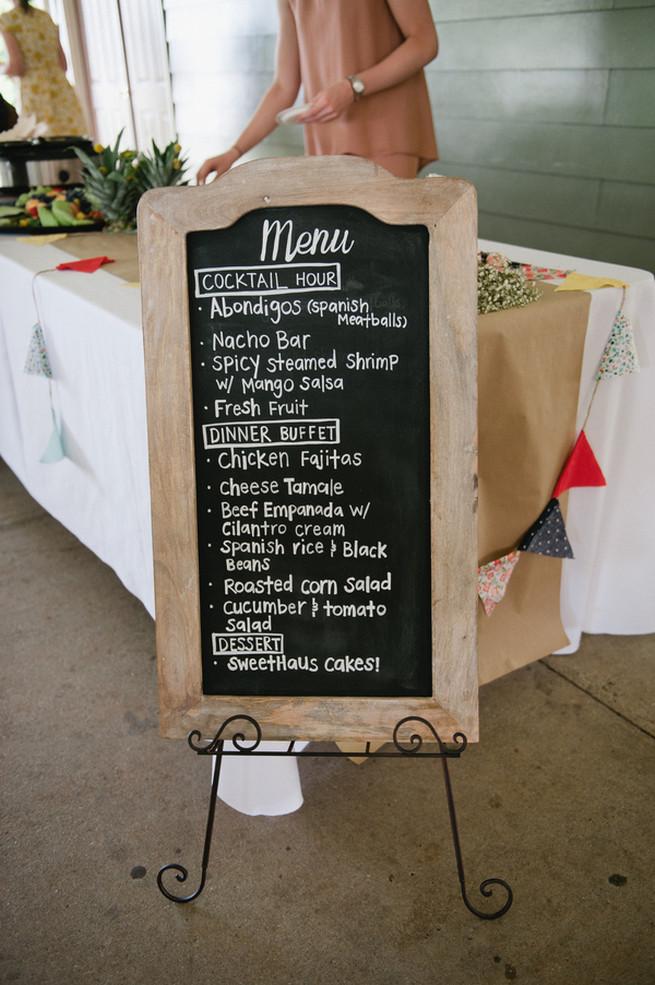 Chalkboard menu.  Coral Navy Mustard Wedding / Meredith McKee Photography