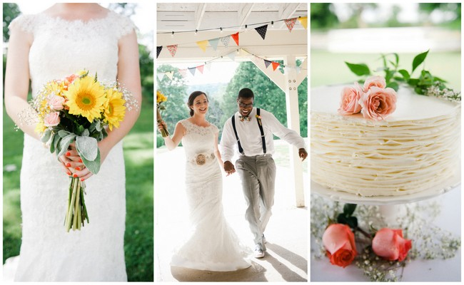 Cheerful Coral, Navy & Mustard DIY Wedding {Meredith McKee Photography}