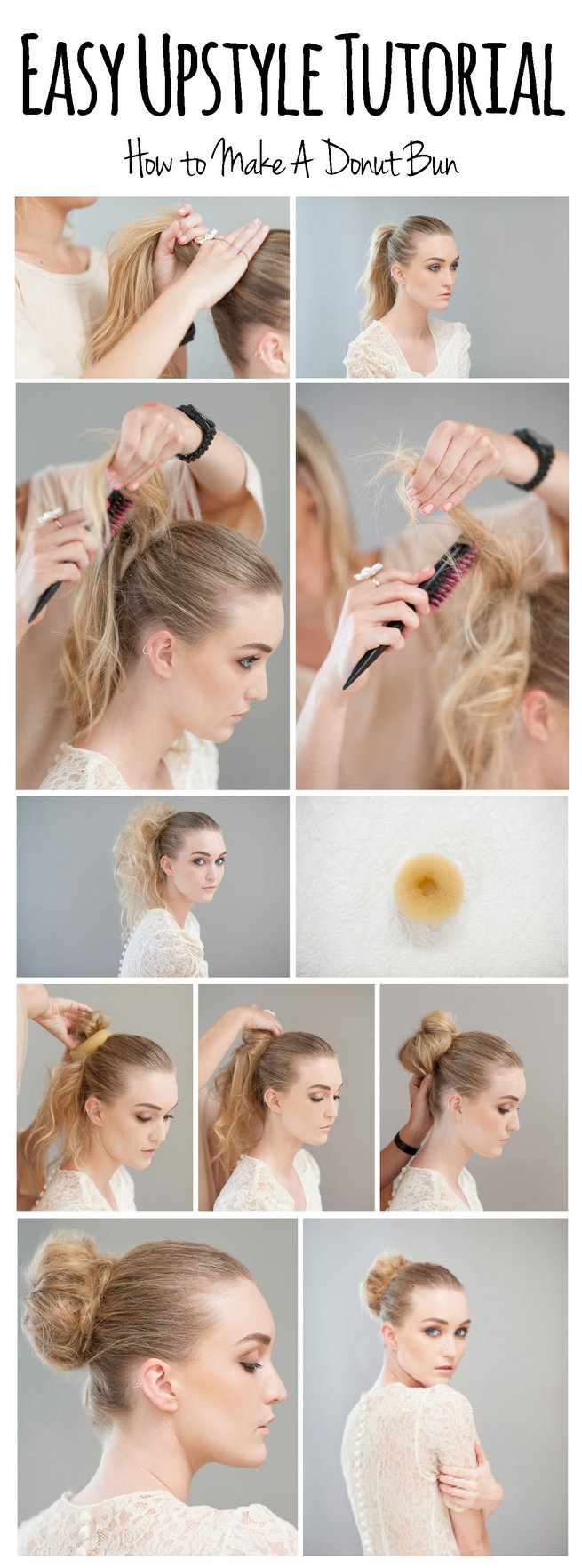 How to make a donut bun step by step. Hair & Make Up: Lisa Brown. Photography: Samantha du Toit