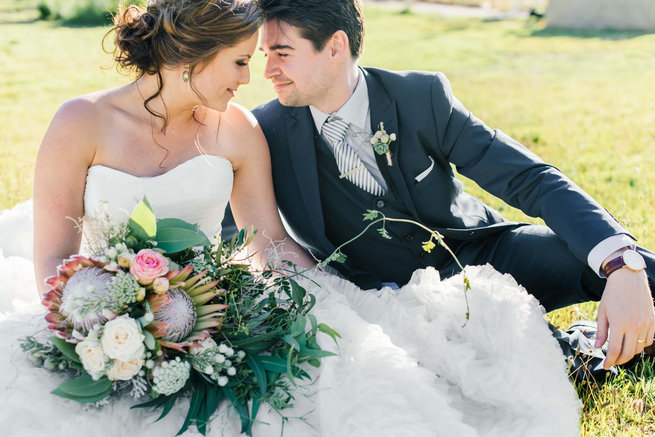 Romantic wedding couple photo // Langkloof Roses Wedding, Cape Town - Claire Thomson Photography