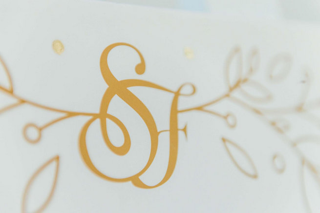 Gold and white wedding monogram // Langkloof Roses Wedding, Cape Town - Claire Thomson Photography