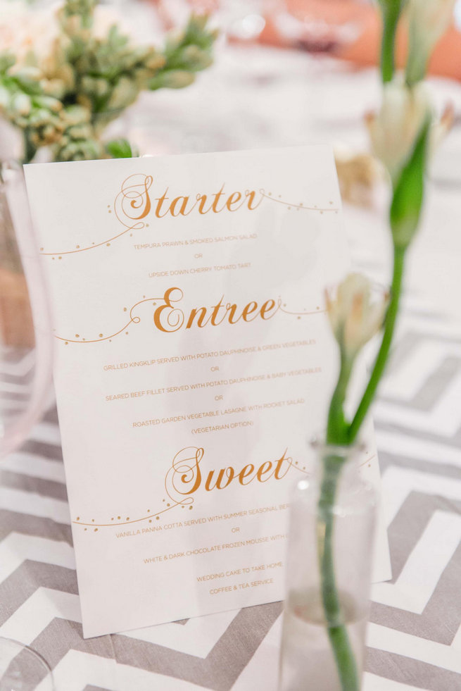 Gold and white wedding menu // Langkloof Roses Wedding, Cape Town - Claire Thomson Photography